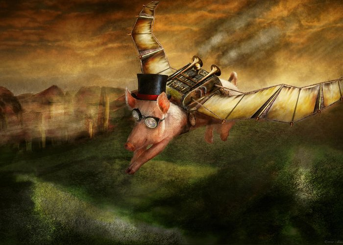 Pig Greeting Card featuring the photograph Flying Pig - Steampunk - The Flying Swine by Mike Savad
