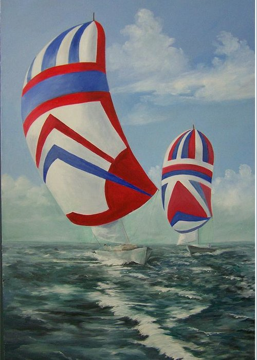 Sailing Ships Greeting Card featuring the painting Flying The Colors by Wanda Dansereau