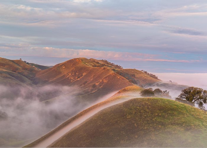 Landscape Greeting Card featuring the photograph Fog Between Hills At Sunrise by Marc Crumpler