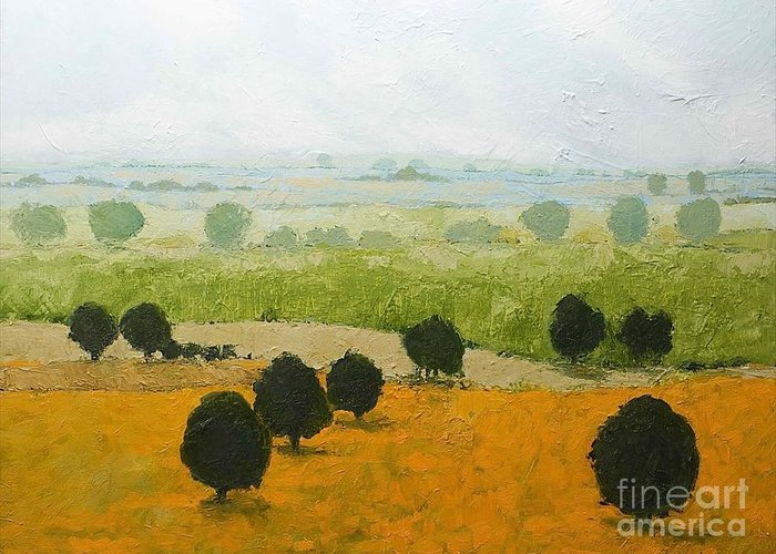 Landscape Greeting Card featuring the painting Fog Lifting Fast by Allan P Friedlander
