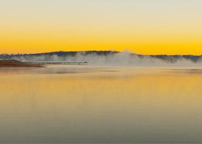 Sunrise Greeting Card featuring the photograph Fog Over The Lake by Michael Waters