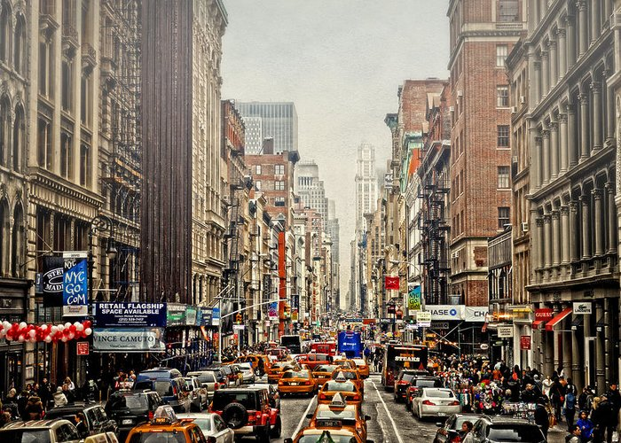 Nyc Greeting Card featuring the photograph Foggy Day In The City by Kathy Jennings