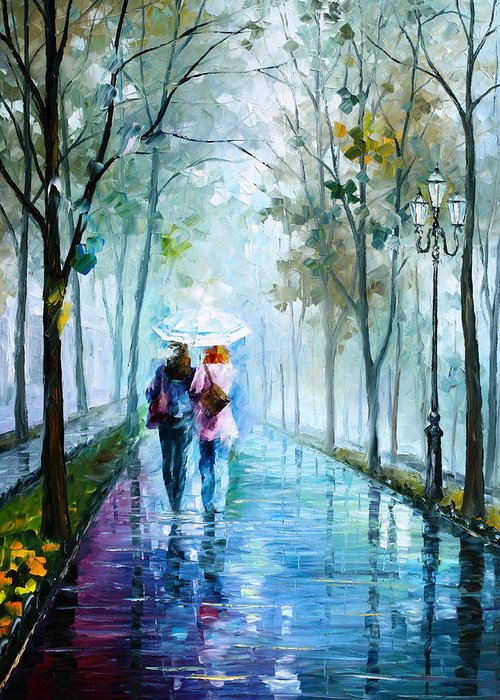 Fog Greeting Card featuring the painting Foggy Day New by Leonid Afremov