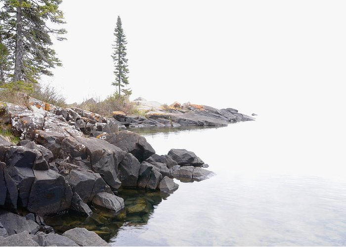 Lake Superior Scene Greeting Card featuring the photograph Foggy Day On Lake Superior by Sandra Updyke