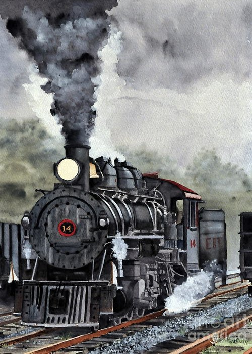 Locomotive Greeting Card featuring the painting Foggy Morning 14 by John W Walker