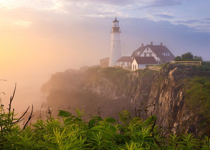 Art Greeting Card featuring the photograph Foggy Morning At Portland Head Light by Benjamin Williamson