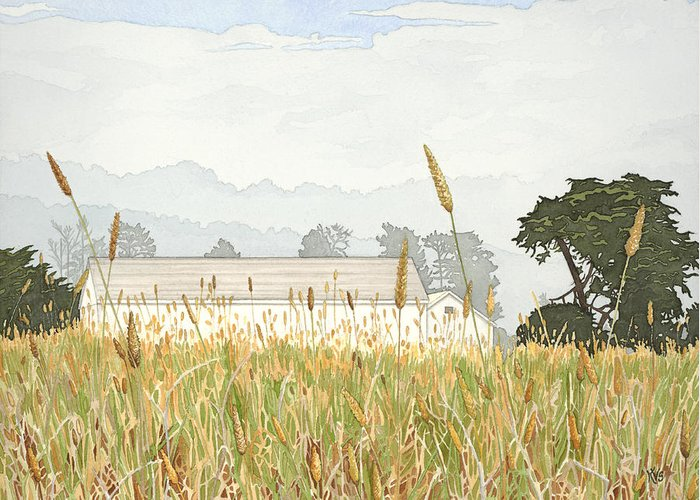 Painting Greeting Card featuring the painting Foggy Morning Walk Ano Nuevo by Kerry Van Stockum