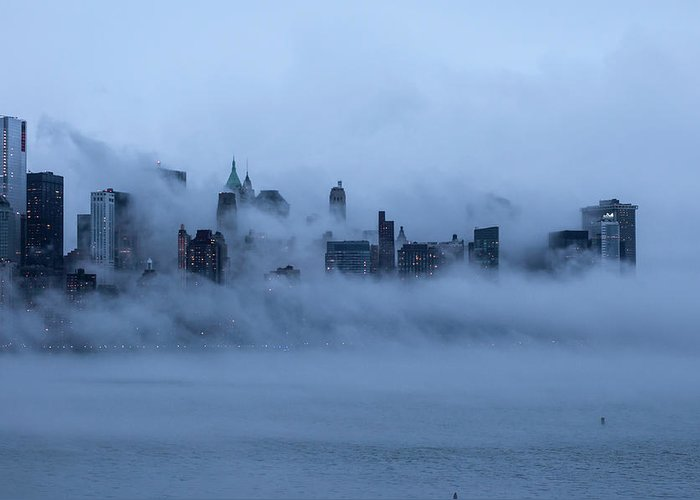 Dawn Greeting Card featuring the photograph Foggy New York City by Laverrue Was Here
