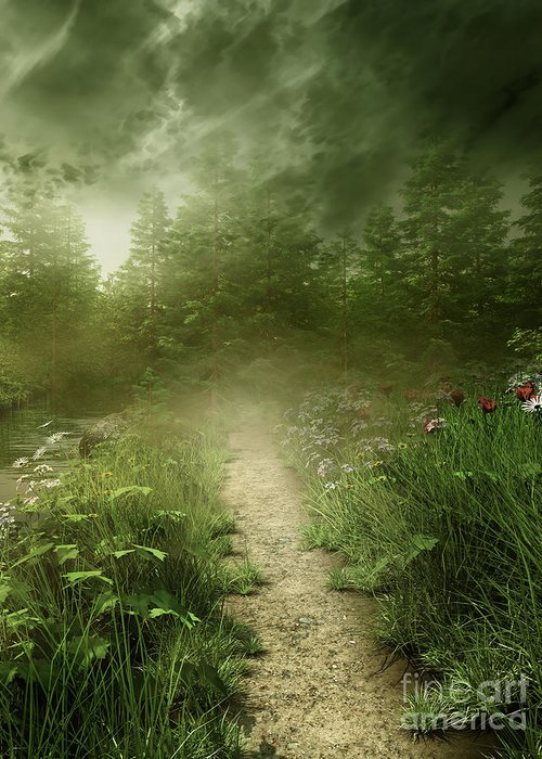 Foggy Road Art Greeting Card featuring the photograph Foggy Road Art by Boon Mee