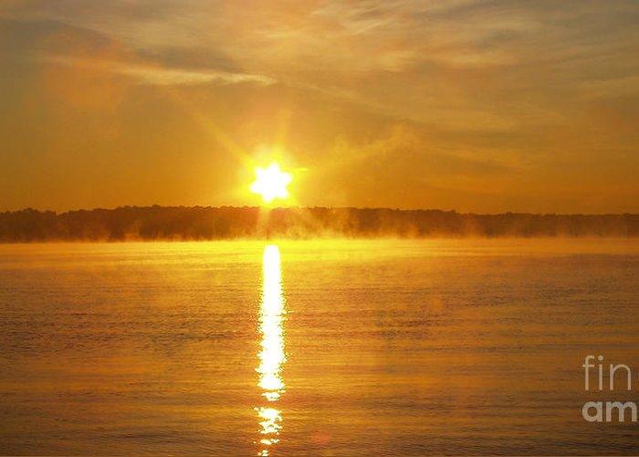 Foggy Sunrise Over Manhassett Bay Greeting Card featuring the photograph Foggy Sunrise Over Manhassett Bay by John Telfer