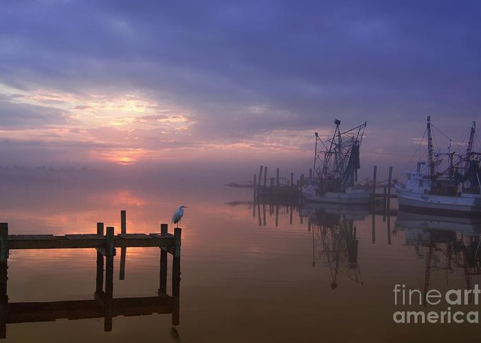 Swansboro North Carolina Greeting Card featuring the photograph Foggy Sunset Over Swansboro by Benanne Stiens
