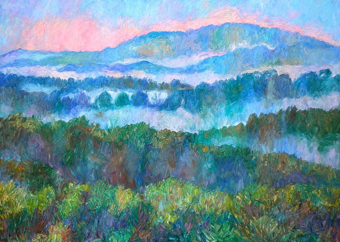 Landscape Greeting Card featuring the painting Foggy View From Mill Mountain by Kendall Kessler
