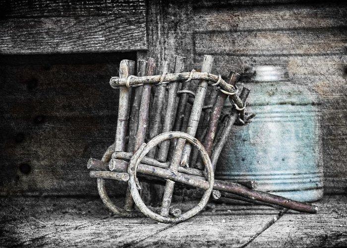Art Greeting Card featuring the photograph Folk Art Cart Still Life by Tom Mc Nemar