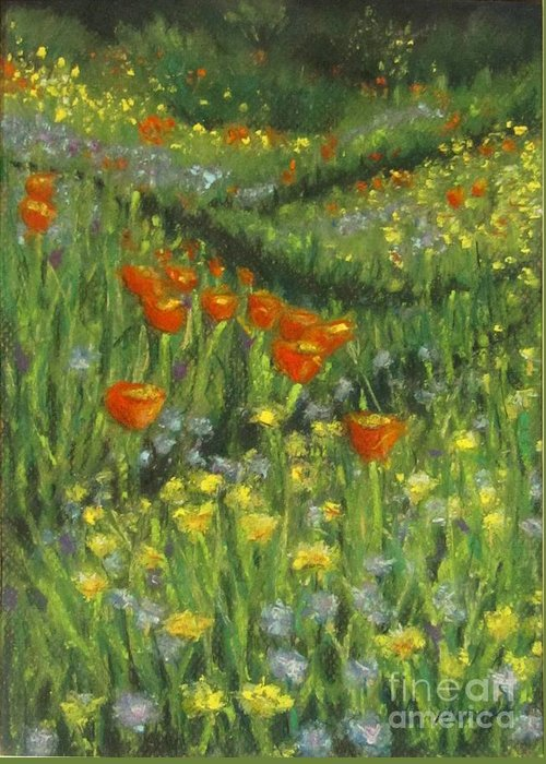 Poppy Greeting Card featuring the pastel Poppy Trail by Laurie Morgan