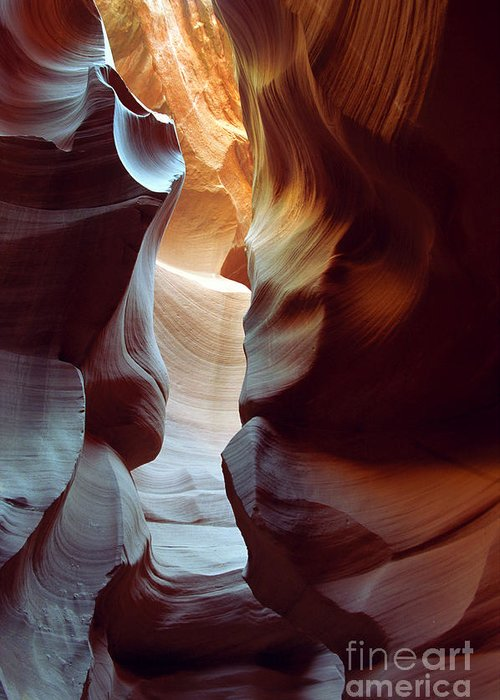 Slot Canyon Greeting Card featuring the photograph Follow The Light II by Kathy McClure