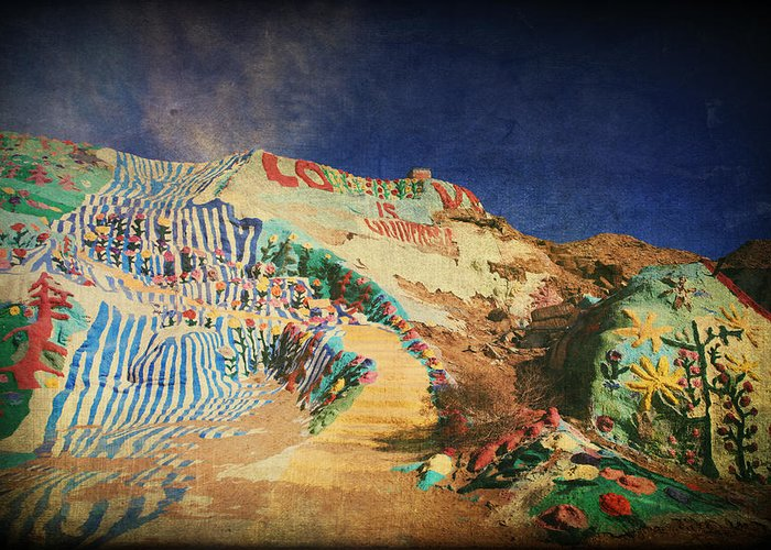 Salvation Mountain Greeting Card featuring the photograph Follow The Yellow Brick Road by Laurie Search