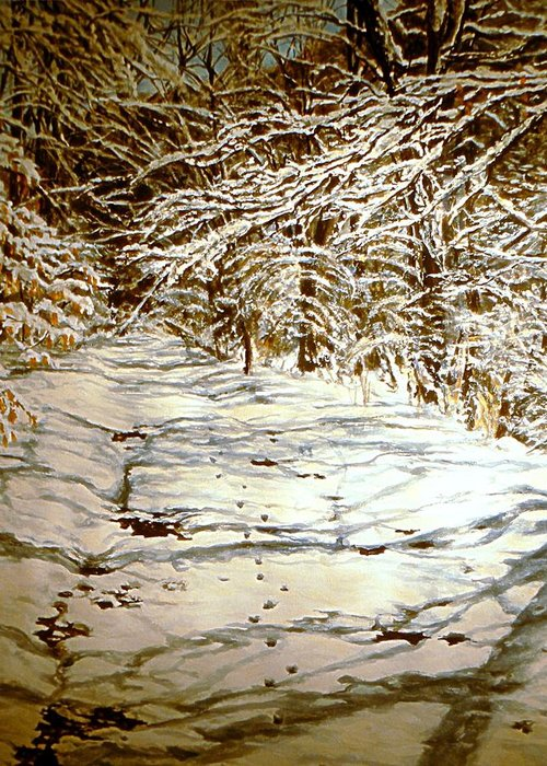 Snow Scene Greeting Card featuring the painting Following Max by Thomas Akers