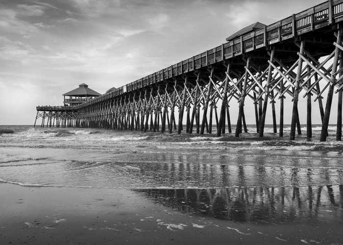 Folly Beach Pier Greeting Card featuring the photograph Folly Beach Pier In Black And White by Curtis Cabana