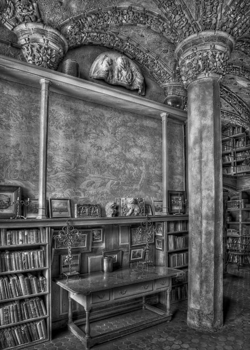 Byzantine Greeting Card featuring the photograph Fonthill Castle Library by Susan Candelario