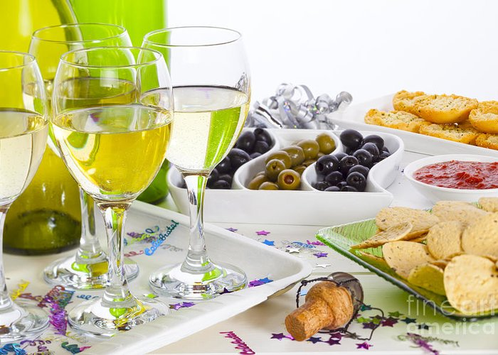 Wine Greeting Card featuring the photograph Food And Wine On A Buffet Table by Colin and Linda McKie
