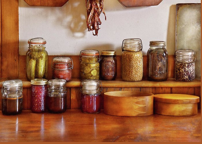 Preserves Greeting Card featuring the photograph Food - I Love Preserving Things by Mike Savad