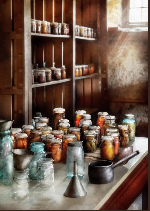 Suburbanscenes Greeting Card featuring the photograph Food - The Winter Pantry by Mike Savad