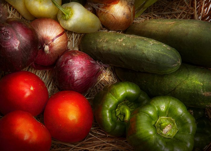 Chef Greeting Card featuring the photograph Food - Vegetables - Onions Tomatoes Peppers And Cucumbers by Mike Savad