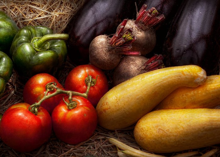 Chef Greeting Card featuring the photograph Food - Vegetables - Peppers Tomatoes Squash And Some Turnips by Mike Savad