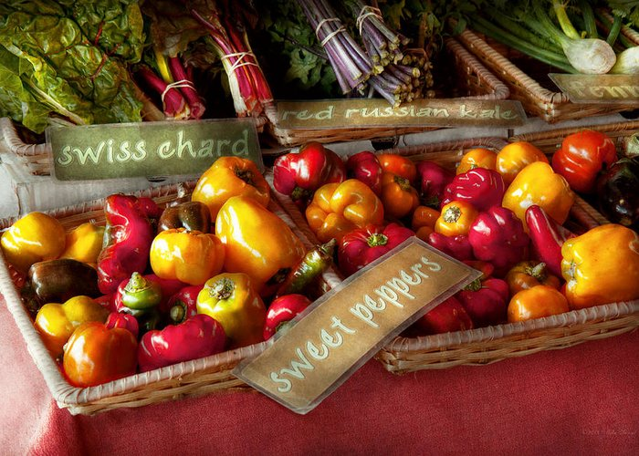 Vegetable Greeting Card featuring the photograph Food - Vegetables - Sweet Peppers For Sale by Mike Savad
