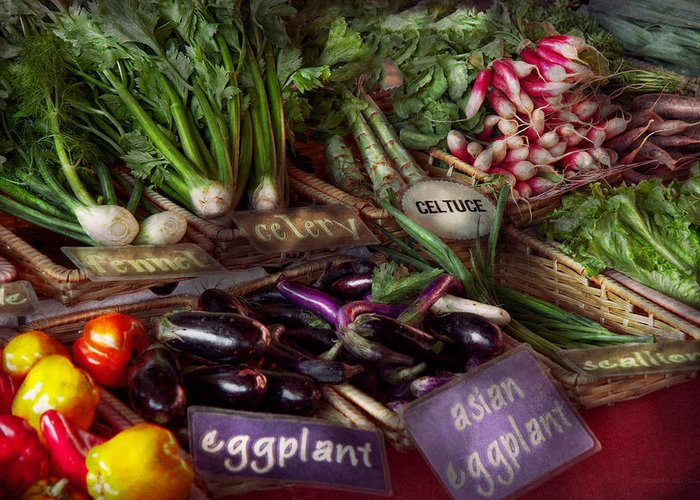 Vegetable Greeting Card featuring the photograph Food - Vegetables - Very Fresh Produce by Mike Savad