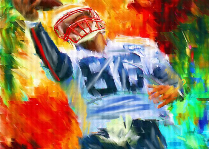 Quarterback Greeting Card featuring the digital art Football II by Lourry Legarde