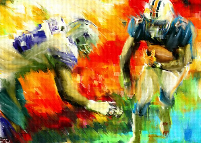 Quarterback Greeting Card featuring the digital art Football IIi by Lourry Legarde
