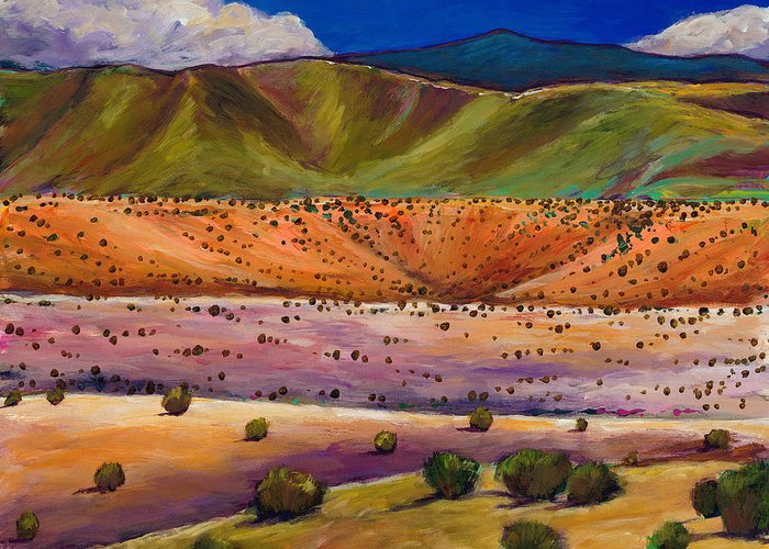New Mexico Greeting Card featuring the painting Foothill Approach by Johnathan Harris