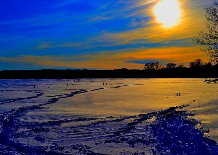 Winter Greeting Card featuring the photograph Footsteps On Lake by Zafer Gurel