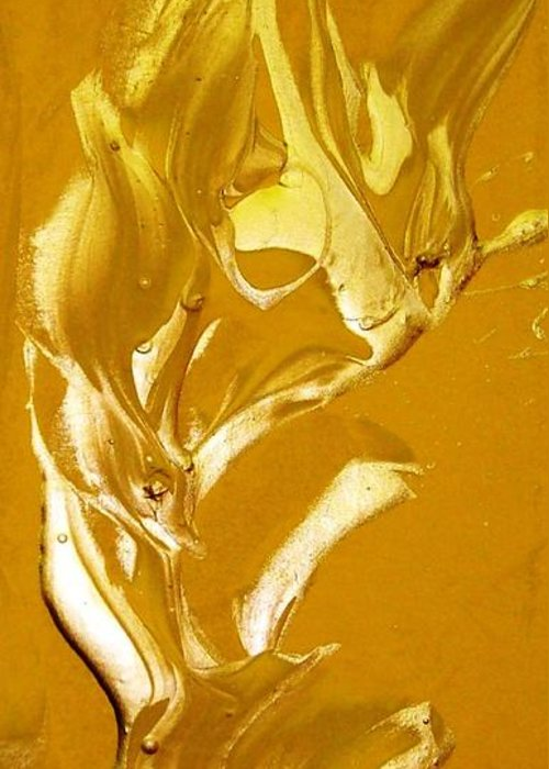 Gold Greeting Card featuring the painting For Love  For All by Bruce Combs - REACH BEYOND
