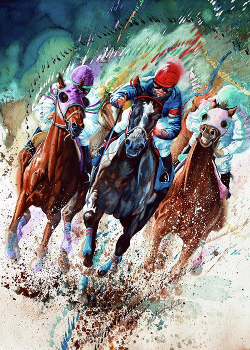 Horse Racing Paintings Greeting Cards