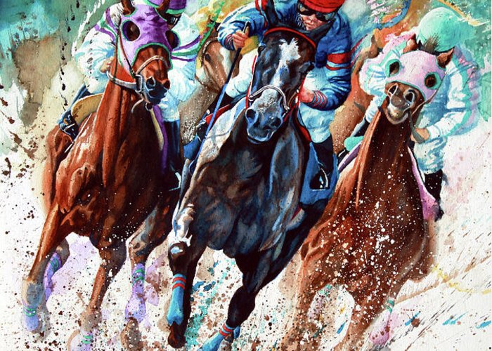 Sports Art Greeting Card featuring the painting For The Roses by Hanne Lore Koehler