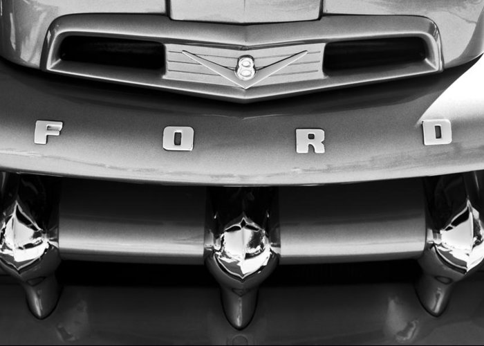 Ford F-1 Pickup Truck Greeting Card featuring the photograph Ford F-1 Pickup Truck Grille Emblem by Jill Reger