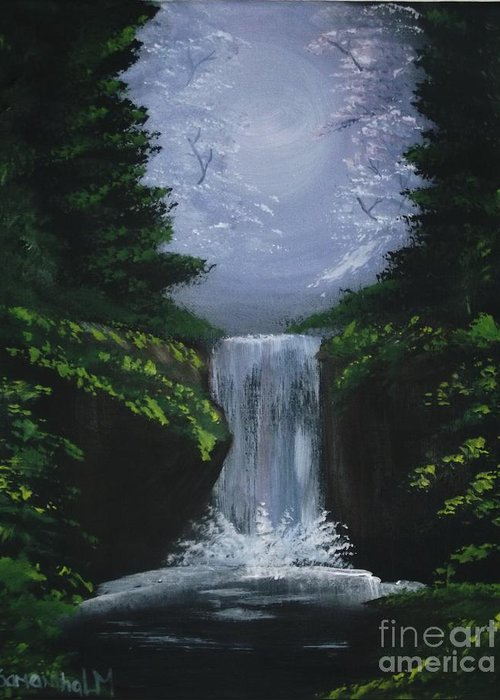 Waterfall Greeting Card featuring the painting Forest Falls by Samantha Lovejoy