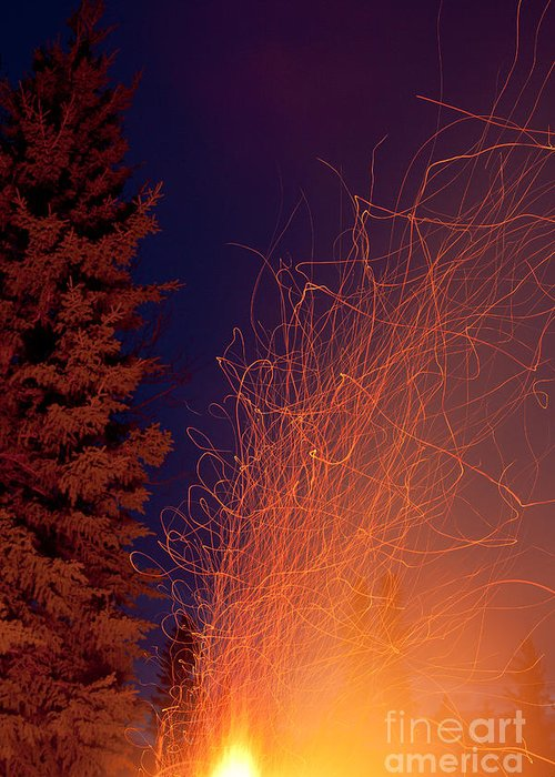 Blast Greeting Card featuring the photograph Forest Fire Danger Hot Spark Trails From Campfire by Stephan Pietzko