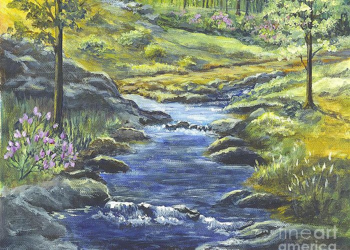 Forest Greeting Card featuring the painting Forest Glen Brook by Carol Wisniewski