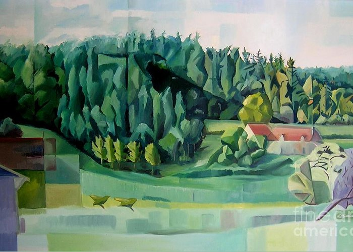 Forest Greeting Card featuring the painting Forest Of L Hermitiere Or The Orchestra by Christian Simonian
