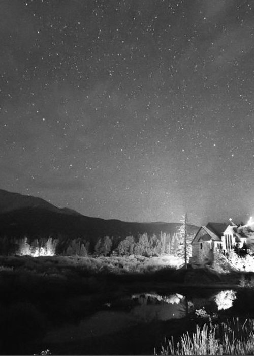 Chapel On The Rock Greeting Card featuring the photograph Forest Of Stars Above The Chapel On The Rock Bw by James BO Insogna