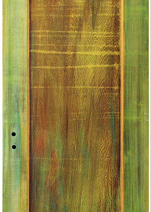 Painted Door; Photograph Of Painted Door; Texture Painting; Found Object Painting; Mixed Media With Gold Paint On Old Wooden Door; Forest; Recycled Art; Symbolic Art; Spiritual Paintings; Spiritual Entrances Greeting Card featuring the sculpture Forest Painted Door by Asha Carolyn Young