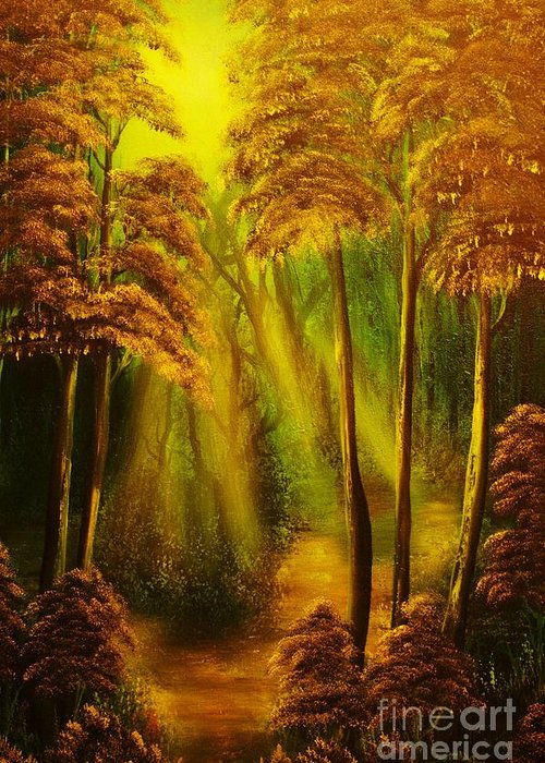 Sunbeam Greeting Card featuring the painting Forest Sunrays- Original Sold -buy Giclee Print Nr 38 Of Limited Edition Of 40 Prints by Eddie Michael Beck