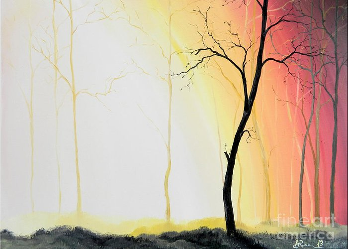 Art Greeting Card featuring the painting Forest Sunset by Denisa Laura Doltu