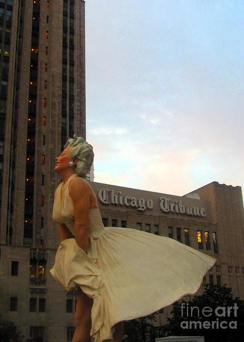 Statue Greeting Card featuring the photograph Forever Marilyn A-dresses The Chicago Tribune by Matthew Peek