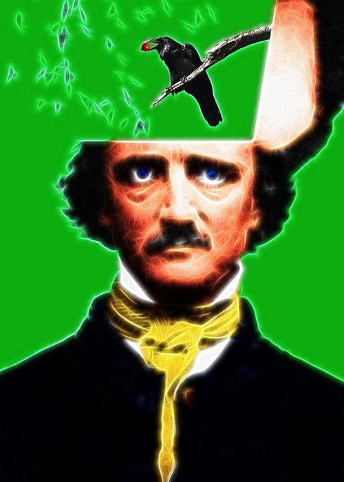 Edgar Greeting Card featuring the photograph Forevermore - Edgar Allan Poe - Green - With Text by Wingsdomain Art and Photography