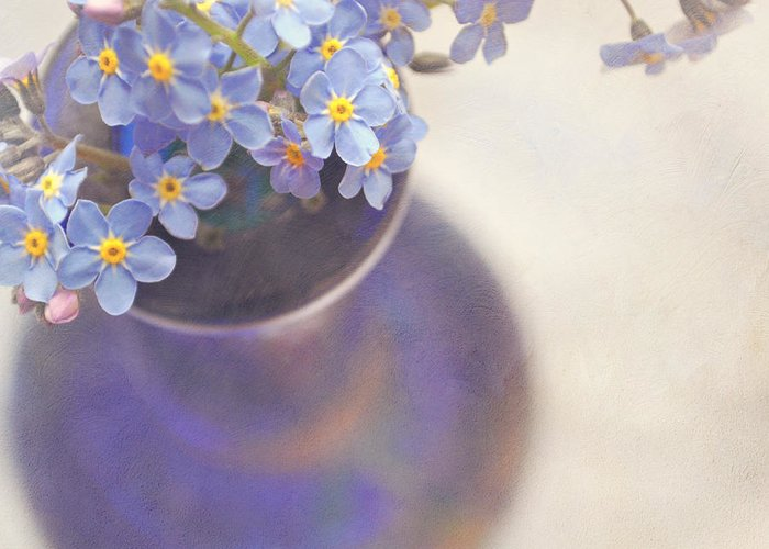 Flowers Greeting Card featuring the photograph Forget Me Nots In Blue Vase by Lyn Randle