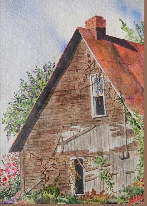 Farm Greeting Card featuring the painting Forgotten Dreams Of Old by Mary Ellen Mueller Legault